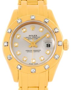 Rolex Rolex Pearlmaster 18K Yellow Gold Diamond Dial Bezel Watch 80318
