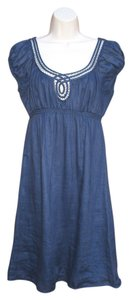 Max Studio short dress Blue Linen Boho Short Summer Peasant on Tradesy