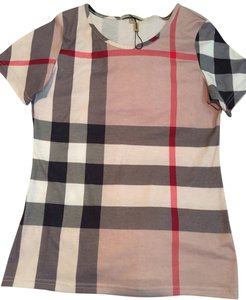 Burberry T Shirt Tan/Red/Black Multi