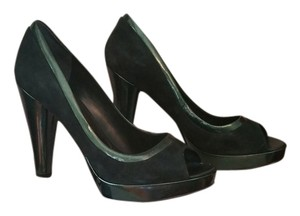 Nine West Nwdelry Dark Green Suede Patent Trim Forest Green Pumps