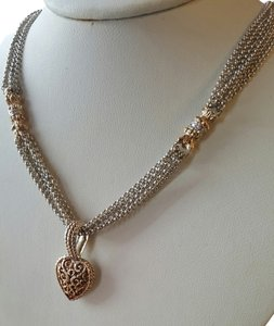 VAHAN Sterling & 14K Gold Chain w Filigree Heart Pendant
