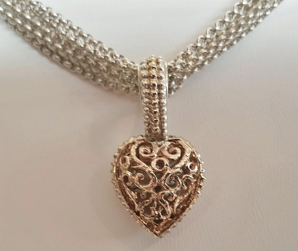 Vahan sterling and 14k yellow gold chain w filigree heart pendant filigree heart pendant 1234 aloadofball Choice Image
