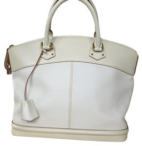 Louis Vuitton Lockit Leather Satchel in white