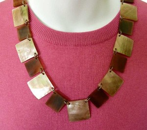 Other Vintage-Y Genuine MOP Mother of Pearl Necklace Geometric Links 22