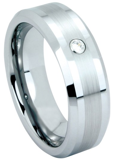Portofino Tungsten Two Tone Finish CZ Centerpiece. 5mm (sizes 5-8), 7mm (sizes 9-13) Rings Made To Order Free Ship