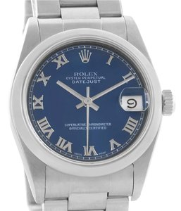 Rolex Rolex Midsize Datejust Stainless Steel Blue Roman Dial Watch 68240