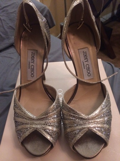 Jimmy Choo Champagne Glitter Bridal Collection Platform Sandals Size US 8