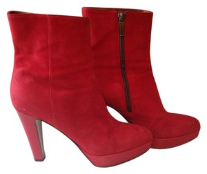 Ann Hobbs for Cattiva Suede Platform Zipper Red Boots