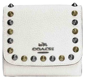 Coach White Outline Studs Small Wallet In Leather