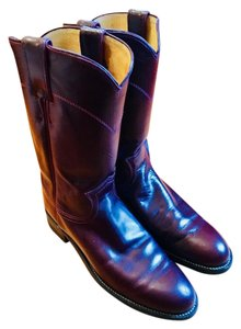 Justin Boots Vintage Leather Gaucho Boho 1960s Maroon Boots