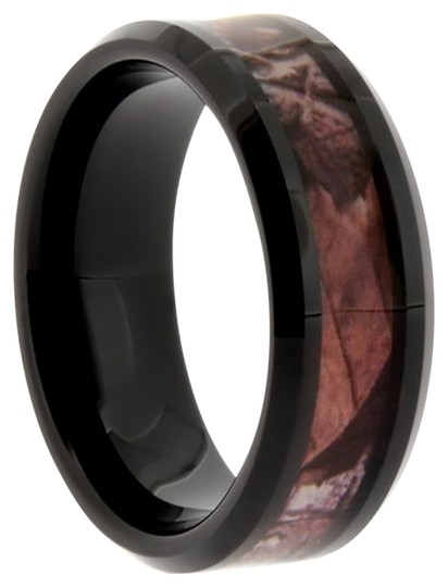 Portofino Black Tungsten Camouflage Ring High Polish Finish 8mm Sizes: 8-13 Rings Are Made To Order Free Ship