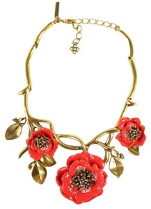 Oscar de la Renta OSCAR DE LA RENTA Gold Branch Coral Red Crystal Enamel Flower Metal Necklace