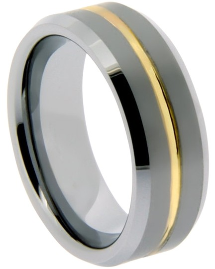 Portofino Tungsten Ring IP Gold Center Groove 6mm (sizes 5-8.5)-8mm (sizes 9-14) Made To Order Free Ship
