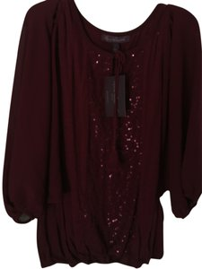 Gloria Vanderbilt Comfortable Attractive Tie At Neckline Elastic Bottom Top NWT Cranberry