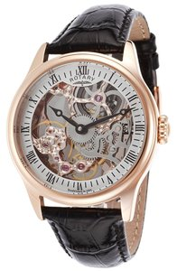 Rotary Watches Rotary ROTARY-GS02522-01 Men's Mechanical Rose-Tone Skeletonized Dial Black