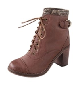 Jeffrey Campbell Cuff Leather Lace-up Caramel Brown Boots