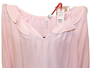Elle Pink Ruffled 3/4 Sleeve Sheer Top Pastel Pink