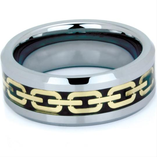Portofino Tungsten Ring IP Gold Chain And Black Carbon Fiber Encircling 6mm (Sizes 5-8), 8mm (Sizes 9-13)