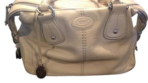 Tod's Off White Designer Satchel in Cream