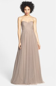 Jenny Yoo Mink Grey Soft Tulle Annabelle Formal Bridesmaid/Mob Dress Size 4 (S)