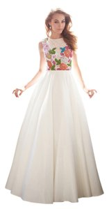 MADISON JAMES Ball Gown Lace Applique Prom Satin Dress