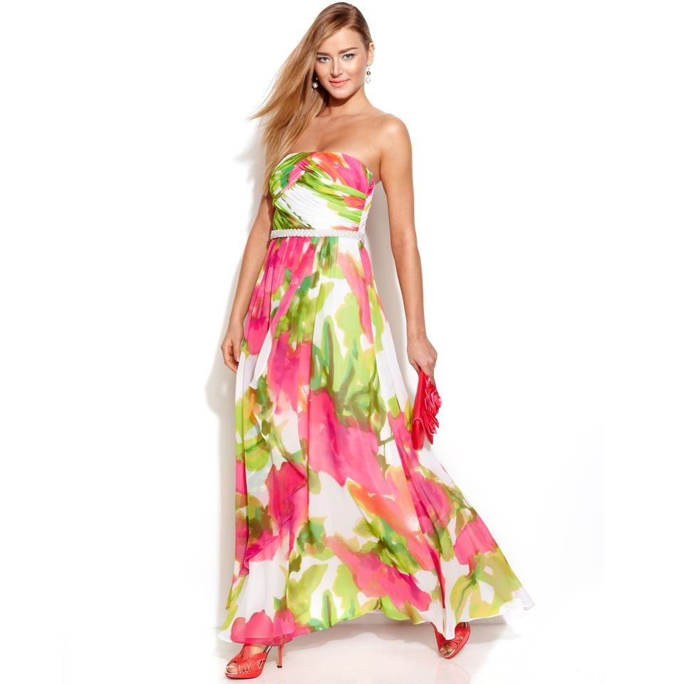 Calvin Klein Multicolor Strapless Watercolor Print Embellished Gown ...