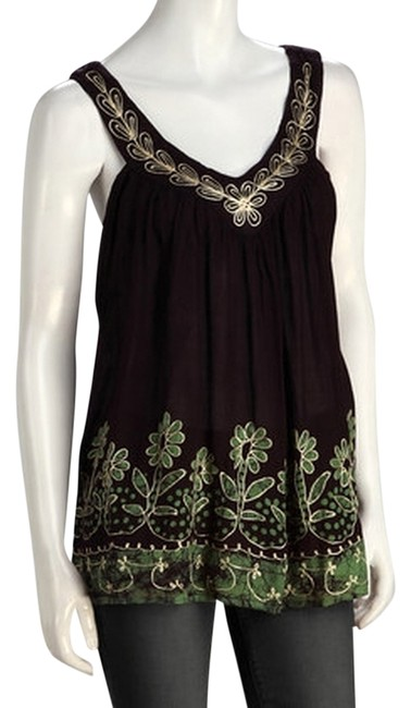 Item - Brown and Green Rayon Tunic Size OS (one size)