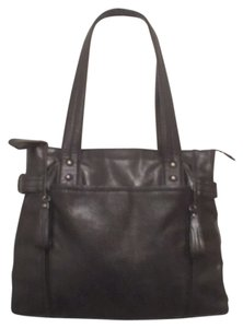 Kenneth Cole Leather Satchel Handbag Tote in Black