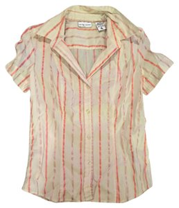 New York & Company Button Down Shirt White pink coral