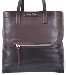 Miu Miu Prada Vitello Leather Tote in Brown