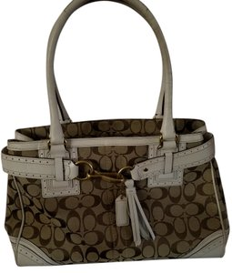 Coach Tote Large Satchel in White leather tan logo fabric