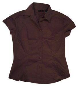 New York & Company Button Down Shirt Brown