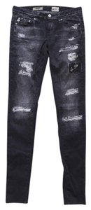 AG Adriano Goldschmied Low-rise Sateen The Legging Jeggings-Distressed