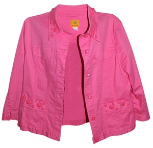 Ruby Rd. Embellished Collar Hot Pink Womens Jean Jacket