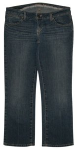 American Eagle Outfitters 5 Pocket Style Zip Fly Cotton/poly/spandex Low Rise Capri/Cropped Denim-Medium Wash