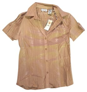 New York & Company Button Down Shirt Brown tan