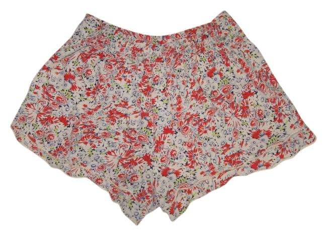 Item - Multicolor Floral Double Scalloped Edge High Waist Viscose Rayon Shorts Size 2 (XS, 26)