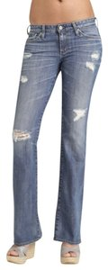 AG Adriano Goldschmied Distressed Ripped Boot Cut Jeans-Distressed