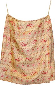 Charter Club Wrap-around Linen Skirt Soft Gold with Rusty red flourishes