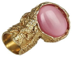 Saint Laurent Saint Laurent Yves YSL Arty Ovale Oval Ring Pink Glass Set Size 5