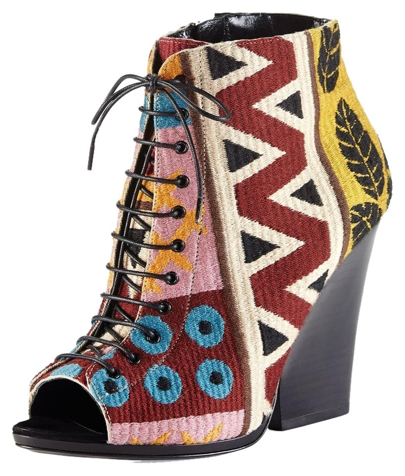 784eb81c6f4 Burberry Multicolor New Box Prorsum Tapestry Lace Up Peep Toe Wedge  Boots Booties