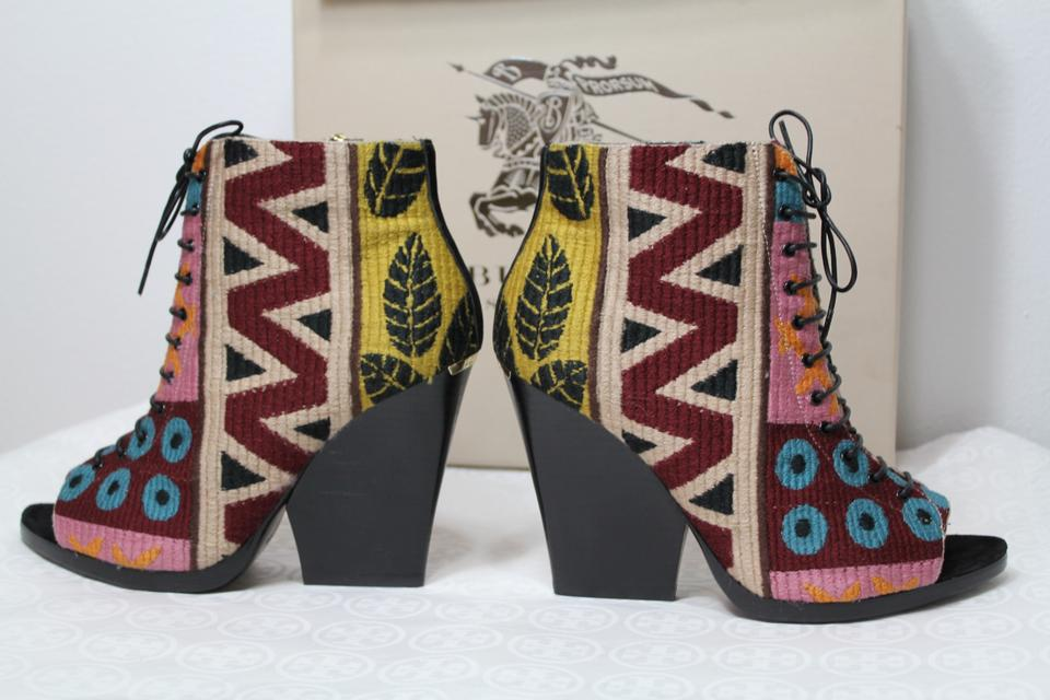 46bc8f0685f Burberry Multicolor New Box Prorsum Tapestry Lace Up Peep Toe Wedge  Boots Booties Size US 6.5 Regular (M