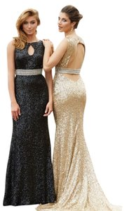 MADISON JAMES Sequins Prom Open Back Dress