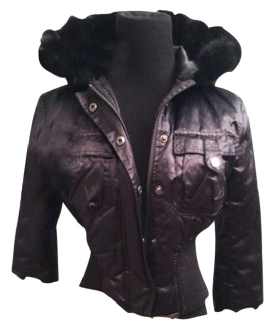 Item - Black Leather & Wood Fitted Rabbit Winter Medium Great Condition Coat Size 8 (M)