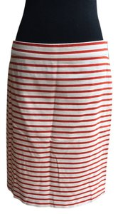J.Crew Linen Pencil Skirt Red + White Stripe