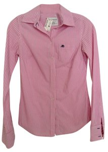 American Eagle Outfitters Button Down Shirt Pink/White Stripe
