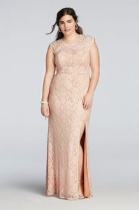 City Triangles Blush Pearl Beaded Blush Cap Sleeve Lace Gown Dress