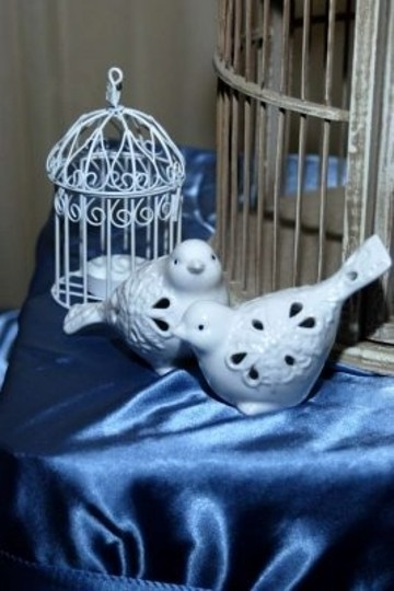 Stained White Over Beige Large Birdcage Reception Decoration