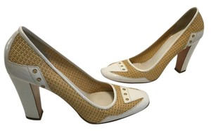 Prada Italian E38 1/2 Marks Reduced Price Tan woven raffia & white patent leather Pumps