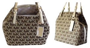 Michael Kors Satchel in Brown and White